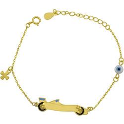 Βραχιόλι ταυτότητα παιδική για αγοράκι από χρυσό ασήμι 925 με σταυρό και  ματάκι ASBB-0019 791a698d046