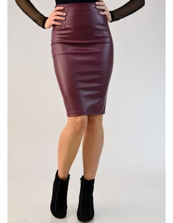 Γυναικεία φούστα midi δερματίνης 271419f4a9c