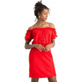 500a1c08d8c F20459 Φόρεμα με Κορδόνι στο Μπούστο - ΚΟΚΚΙΝΟ 18405