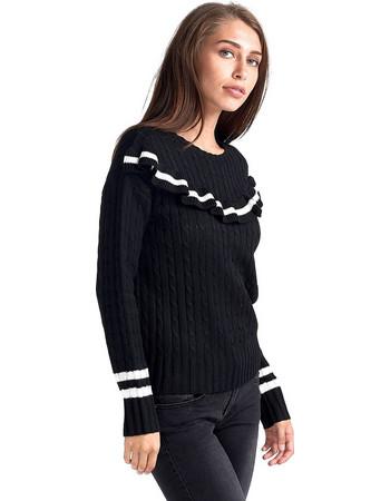 eb2fe8f27cee μπλουζα με βολαν μαυρη - Γυναικεία Πλεκτά