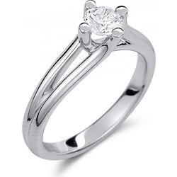 Μονόπετρο δαχτυλίδι από λευκό χρυσό 14 καρατίων με πέτρα Swarovski. PLL030 aa260e16014