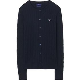 0d4072212592 Gant γυναικεία ζακέτα μονόχρωμη με πλεξούδες Stretch Cotton Cable Crew -  480025 - Μπλε Σκούρο