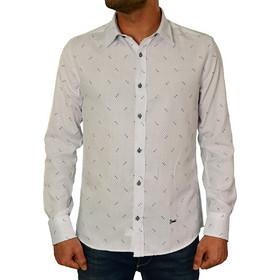 f634ed6ffd4f Ανδρικό πουκάμισο Ben Tailor λευκό πουά 20173410