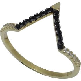 Γυναικείο Δαχτυλίδι 14Κ Κίτρινο Χρυσό μελευκά και μαύρα Ζιργκόν (σε σχήμα V) 06a233299c7