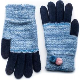 Μπλε Πλεκτά Γάντια Γυναικεία Με Διπλό Πον Πον c6838b871a1