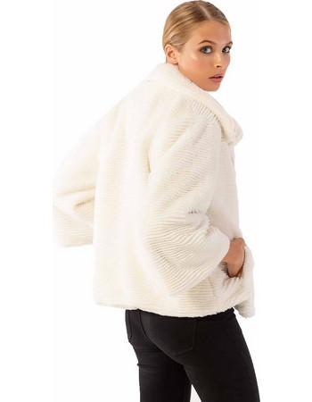 Γούνινη ζακέτα με φερμουάρ μπροστά και πλαϊνά τσεπάκια - Λευκό 286fbbe7053