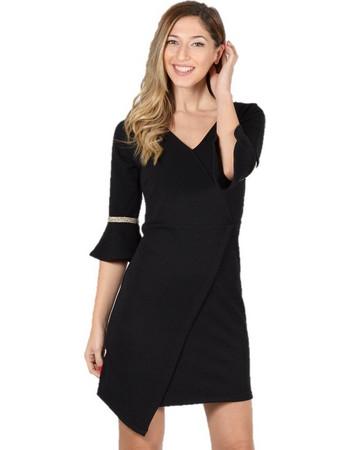 Φόρεμα Σταυρωτό με Lurex Τρέσα και Μανίκια Καμπάνα Μαύρο - Ανθρακί 7d62f4865d4
