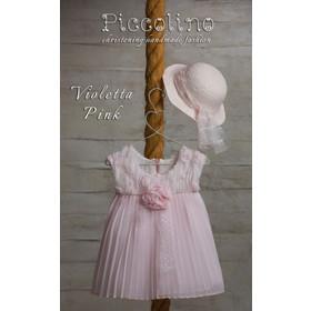 234ca37c19a Βαπτιστικό Φόρεμα DR19S15 VIOLETTA PINK,Piccolino