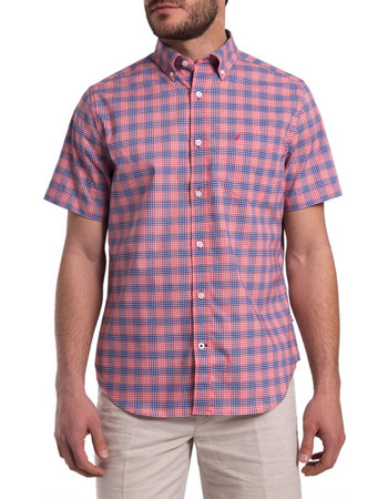 901e6fd8107a Ανδρικό καρό πουκάμισο με κοντά μανίκια Nautica - W81272 - Κόκκινο