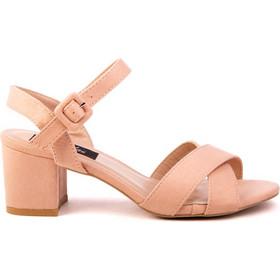 861220ce078 Πέδιλα ροζ σουέτ χιαστί με χαμηλό τακούνι 342182pink. Tsoukalas Shoes