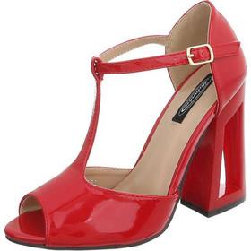 0694 LD Γυναικεία πέδιλα με ιδιαίτερο τακούνι - Κόκκινο 6954373a5c0