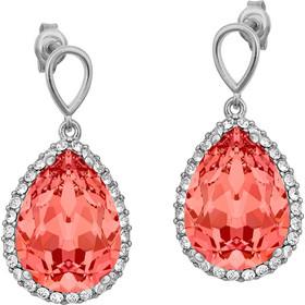 5bd619c0a9 Ασημένια σκουλαρίκια 925 ροζέτα δάκρυ με κοραλί πέτρα SWAROVSKI  SK-V34712KORL1