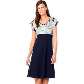 b350d1503aaf Vamp κοντομάνικο μπλε βισκόζ φόρεμα σε Α γραμμή 6936