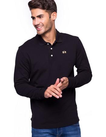 La Martina ανδρική μπλούζα με μακρύ μανίκι Manley - CCMP04-PK001 - Μαύρο 8ae1b663bae