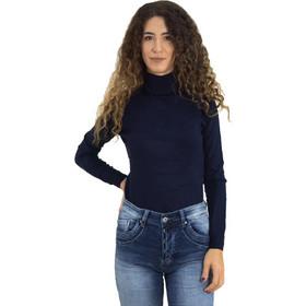 212aa0bd2ee3 Γυναικείο μπλε πουλόβερ ζιβάγκο μονόχρωμο MX3009L