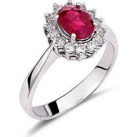 Δαχτυλίδι ροζέτα από λευκό χρυσό 18 καρατίων με ρουμπίνι 1.38ct στο κέντρο  και διαμάντια περιμετρικά f9498df0ad5
