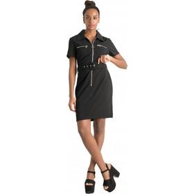 36a830f23d8f F2968 Φόρεμα με Φερμουάρ και Ζώνη - ΜΑΥΡΟ 18119
