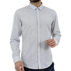 5e91807f208a Ανδρικό Πουά Μακρυμάνικο Πουκάμισο Slim Fit BLEND 20701702 Λευκό