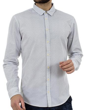 Ανδρικό Πουά Μακρυμάνικο Πουκάμισο Slim Fit BLEND 20701702 Λευκό 813ac4dcb20