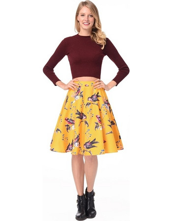 Woman Summer Bird Flower Print A Line Vintage Flared Midi Skirt Yellow 4bf0a661795