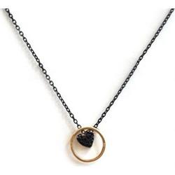 Κολιέ καρδια από επιχρυσωμένο ασήμι και μαύρη πλατινωμένη αλυσίδα a3ad706f5b8