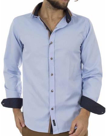 2bad35bf713e Ανδρικό Μακρυμάνικο Πουκάμισο Slim Fit CND Shirts 3700-3 Sky Blue