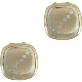 Κίτρινα Χρυσά Μανικετόκουμπα Καπάκια με Λευκόχρυσες Λεπτομέρειες Κ14 MANK144 8226c3fb292