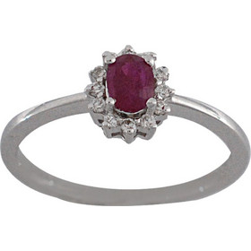 Δαχτυλίδι ροζέτα λευκόχρυσο 18 καράτια με μπριγιάν και ρουμπίνι a5e7f902924