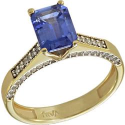Δαχτυλίδι μονόπετρο χρυσό 14 καράτια με ορυκτό μπλε ζαφείρι swarovski(R) 51eaccd09cf