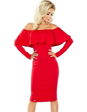 0966ed573f76 70112 NU Μακρυμάνικο μίντι φόρεμα με βολάν - κόκκινο