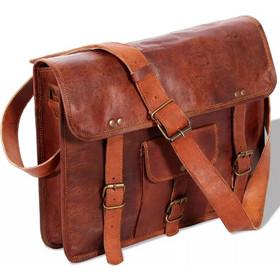 vidaXL Τσάντα Ώμου Καφέ από Γνήσιο Δέρμα για Laptop 15 Ιντσών 5a26f13044e