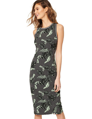 SUPERDRY D3 BEACH LEAF MIDI DRESS ΦΟΡΕΜΑ ΓΥΝΑΙΚΕΙΟ G80003XQ-OY6  (OY6 TROPICAL CHARCOAL 2ed45e40941