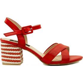 e5f2eb02e28 Πέδιλα κόκκινα δερματίνη ριγέ 302149red. Tsoukalas Shoes