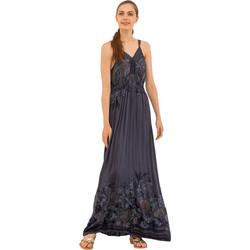 Μάξι φόρεμα με λεπτομέρεια από δαντέλα - Μπλε 34e42c08e53