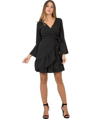 ede0321fca68 F2504 Φόρεμα Κρουαζέ με Μανίκια Καμπάνα - ΜΑΥΡΟ 16709