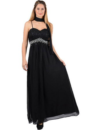 d1723485e191 Επίσημο maxi φόρεμα Μαύρο Swarovski - Μαύρο