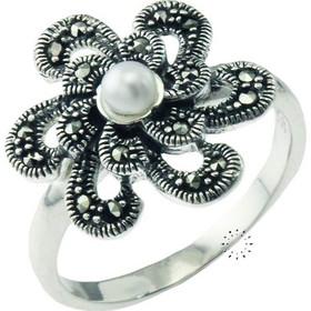 Δαχτυλίδι Από Ασήμι 925 Με Πέρλα Και Κρύσταλλα df3c3c9a002