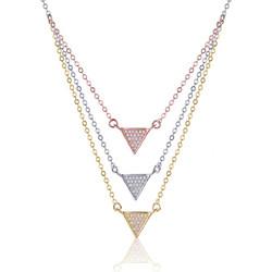 Ασημένιο Κολιέ Τριπλό με Τρίγωνο και Εκθαμβωτικά Ζιργκόν διακρινόμενο από  Πανδαισία Χρωμάτων 8f48aeffb4a