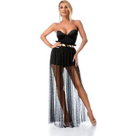 b7e1dd623982 9283 RO Σόρτς overall με χρυσή ζώνη και τούλινη φούστα με πέρλες - Μαύρο. Ro  Fashion