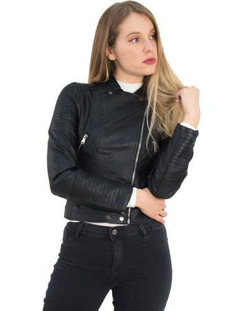 Γυναικείο μαύρο μπουφάν δερματίνη λοξό φερμουάρ ZX2502 c932bc34f62