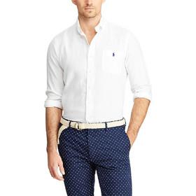 e0948a4dda5d Polo Ralph Lauren ανδρικό πουκάμισο λινό Classic Fit - 710744542006 - Λευκό