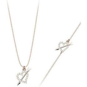 Σέτ κοσμημάτων βραχιόλι και κολιέ συλλογή Love καρδιά με βέλος από ρόζ επιχρυσωμένο  ασήμι με πέτρα 44932dc65ed