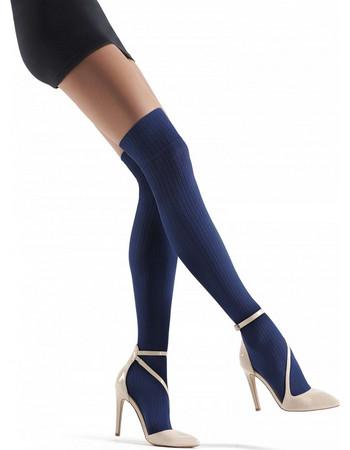 Κάλτσα μπότα πάνω από το γόνατο ΜΠΛΕ μαλλί   βαμβάκι angora made in Italy  PRISCO b29ad86a9be