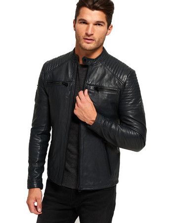 SUPERDRY D5 LEATHER QUILT RACER ΜΠΟΥΦΑΝ ΑΝΔΡΙΚΟ M50004AO-02A (02A BLACK) c5c2b26dac2