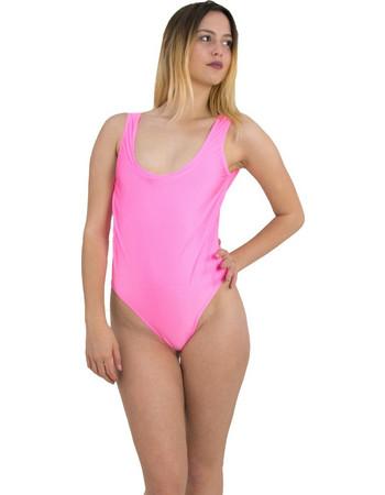 Γυναικείο μαγιώ ολόσωμο ροζ με φαρδιά ράντα AMELIA4 787329faeec