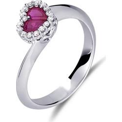 Δαχτυλίδι καρδιά από λευκό χρυσο 18 καρατίων με ρουμπίνι στο κέντρο και  διαμάντια περιμετρικά. DD15493 8c17ef7554f