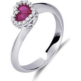 Δαχτυλίδι καρδιά από λευκό χρυσο 18 καρατίων με ρουμπίνι στο κέντρο και  διαμάντια περιμετρικά. DD15493 ca534391629