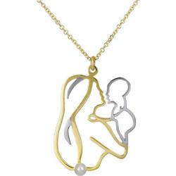 Χρυσό κολιέ K14 μαμά και μωρό με μαργαριτάρι 027165 027165 Χρυσός 14 Καράτια 57ef8b9b8ea