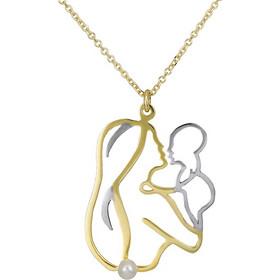 Χρυσό κολιέ K14 μαμά και μωρό με μαργαριτάρι 027165 027165 Χρυσός 14 Καράτια 5eea8dac0c2