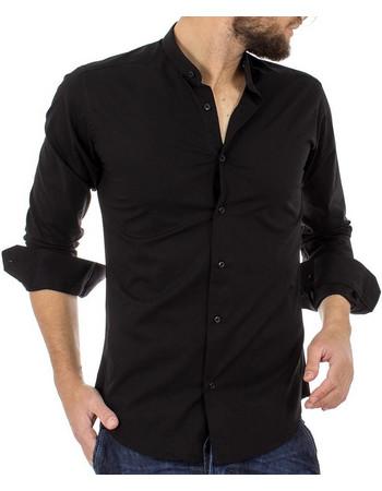 Ανδρικό Μάο Μακρυμάνικο Πουκάμισο Slim Fit ENDESON FASHION 1050 Μαύρο 8e07608eb66